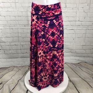 Purple Pink Orange LuLaRoe Tye Dye Maxi Skirt Sm